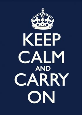 Keep Calm and Carry On Navy Blue